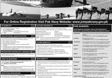 Join Pakistan Navy As PN Cadet For Permanent Commission 2018 B Registration Online