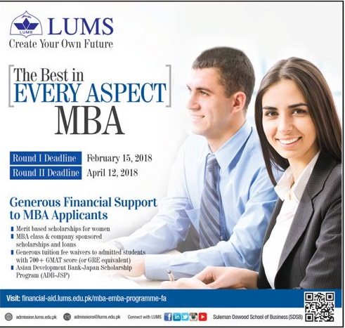 LUMS MBA Admission 2018 Dates