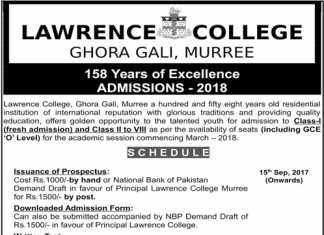 Lawrence College Murree Admission 2019 8th Class Schedule Form