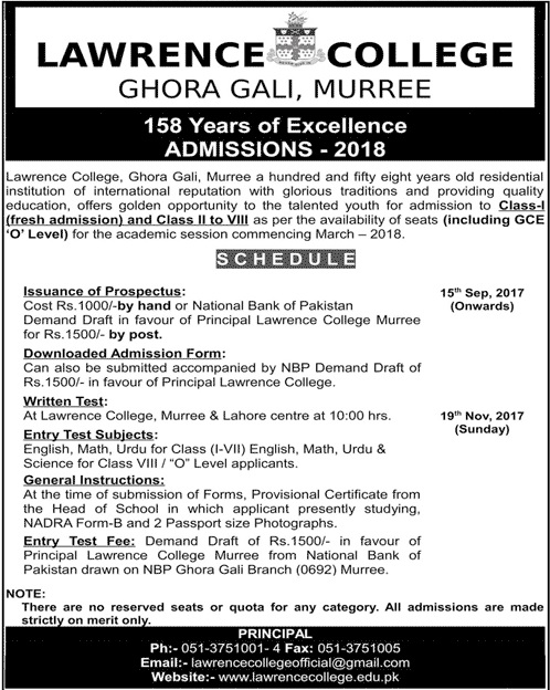 Lawrence College Murree Admission 2018 8th Class Schedule Form Download