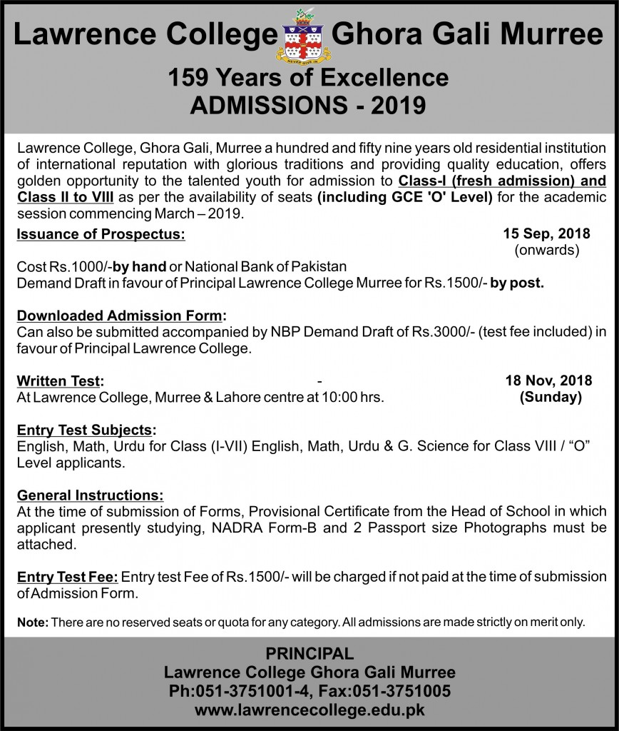 Lawrence College Murree Admissions 2019 Advertisement