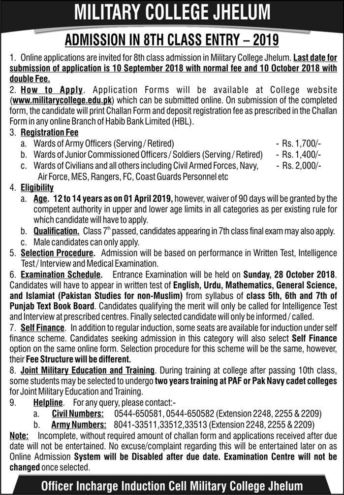 Military College Jhelum Admission 8th Class 2019 Form Eligibility Last Date