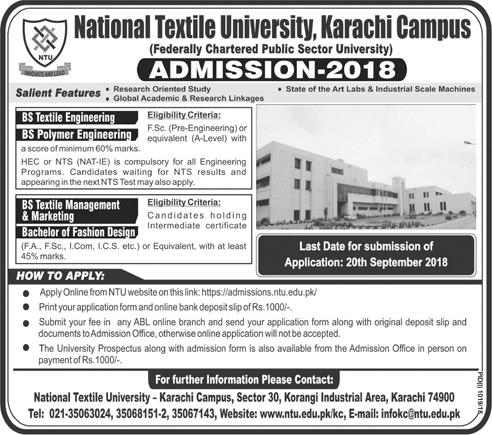 NTU Faisalabad Karachi Campus Admission 2018