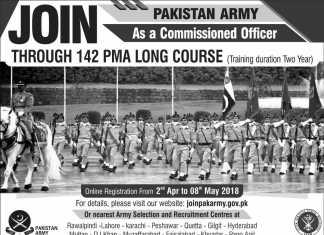 PMA Long Course 142 Registration 2018 joinpakarmy.gov.pk Advertisement