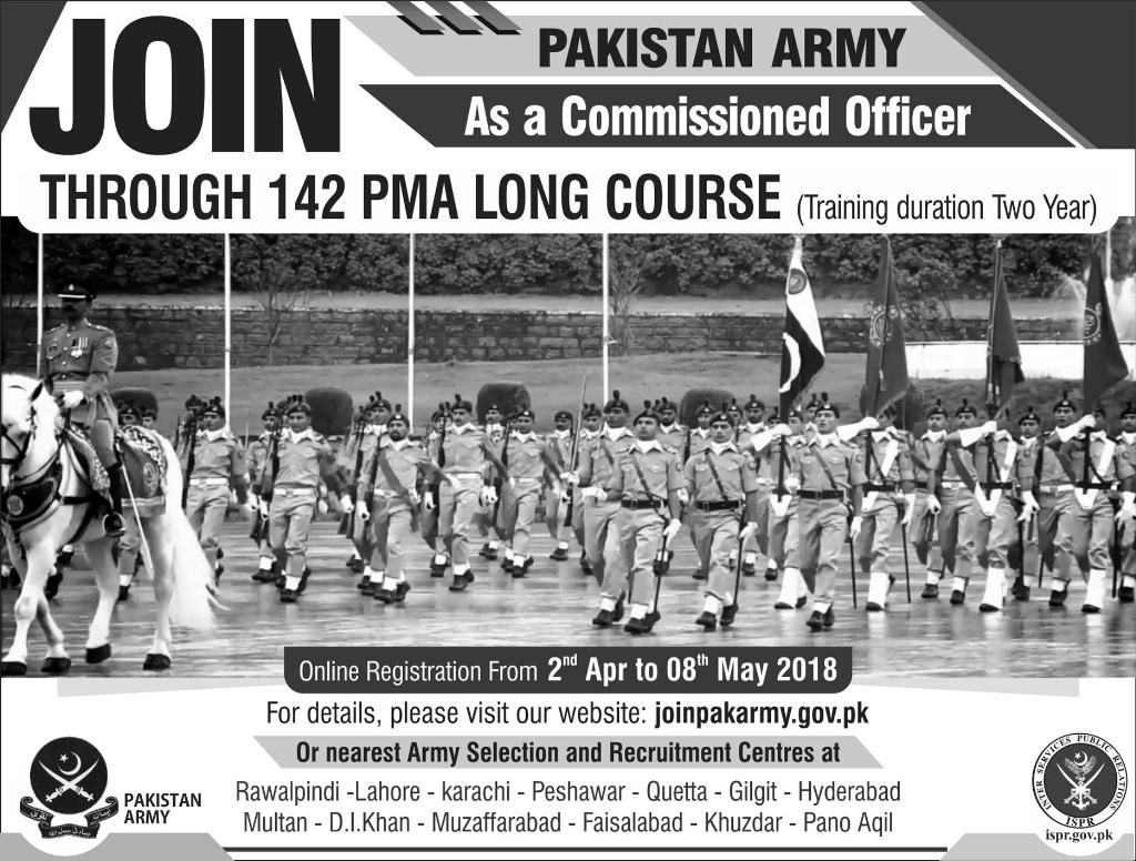 PMA Long Course 142 Registration 2018 joinpakarmy.gov.pk Advertisement