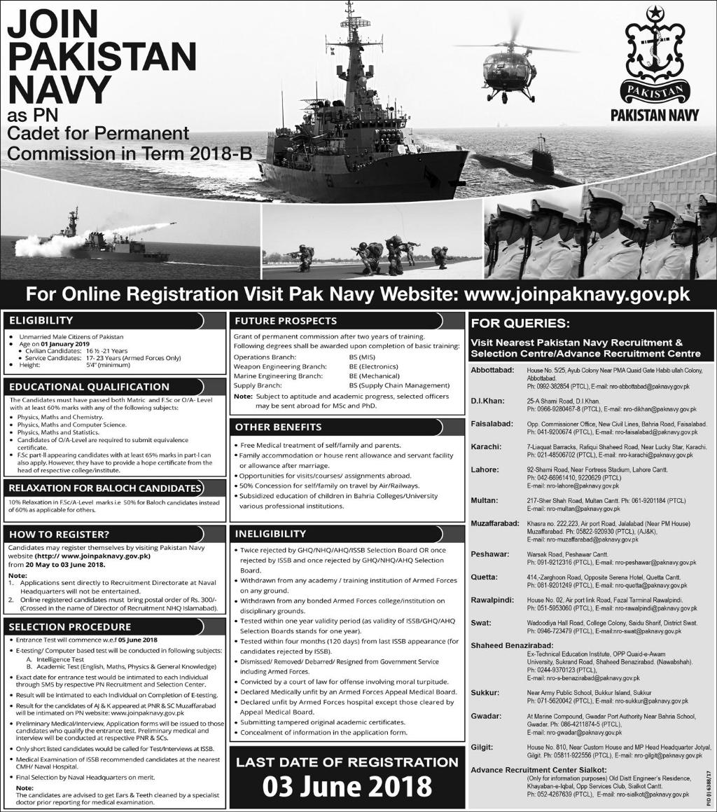 Pak Navy PN Cadet Permanent Commission Term Jobs 2018 B