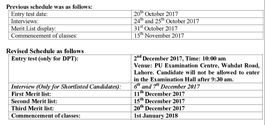Punjab University Allied Health Sciences Merit List 2017 1st, 2nd, 3rd