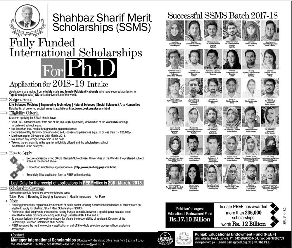 Shahbaz Sharif Merit Scholarship For Phd 2019