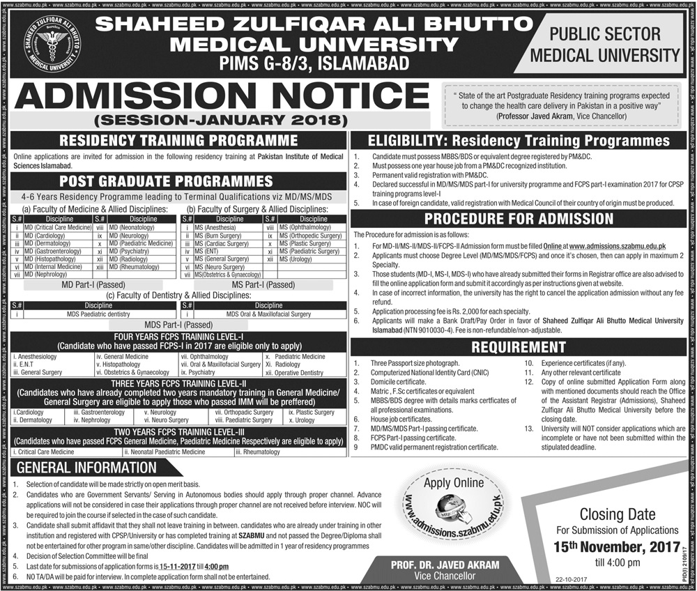 Shaheed Zulfiqar Ali Bhutto Medical University Islamabad Admission