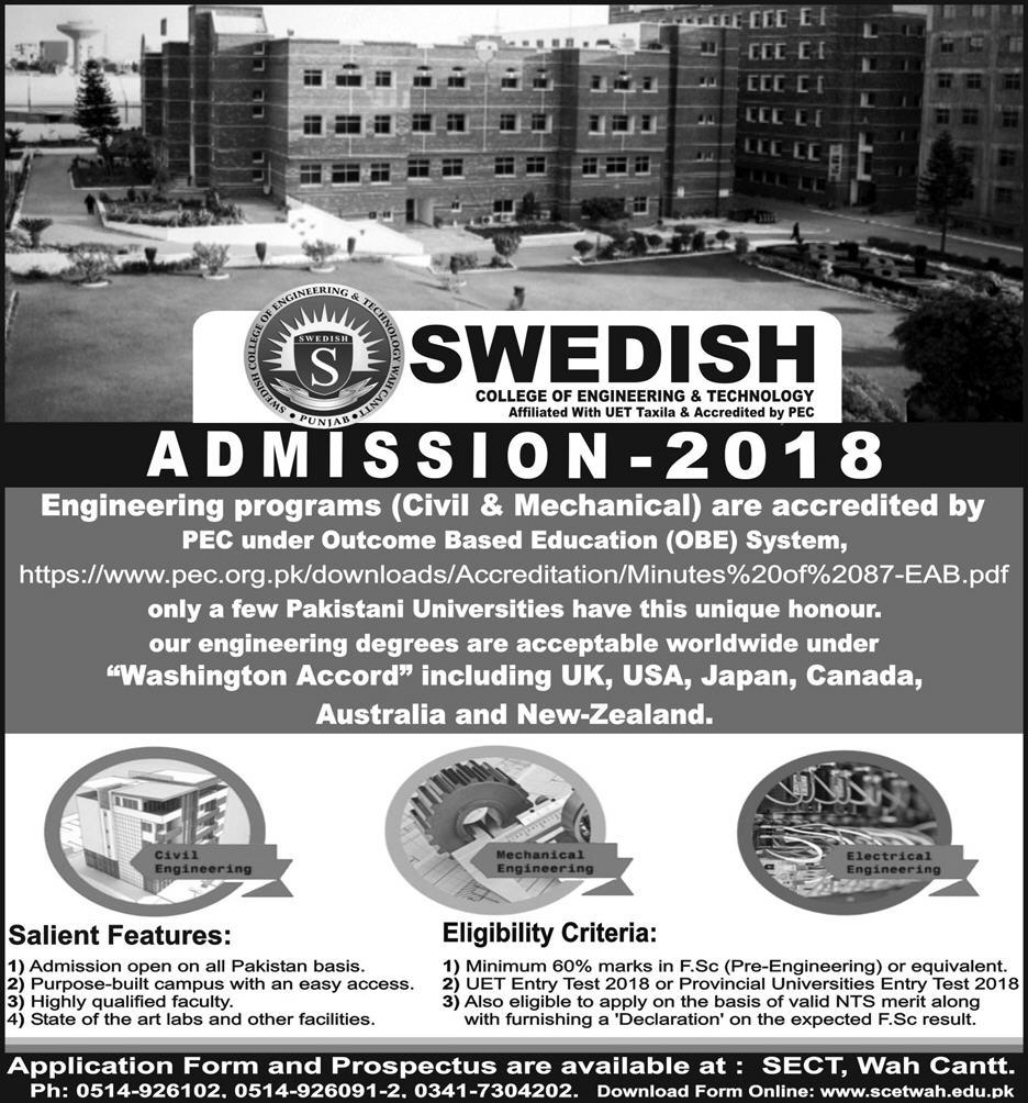 Swedish College Of Engineering And Technology Wah Cantt Admission 2018