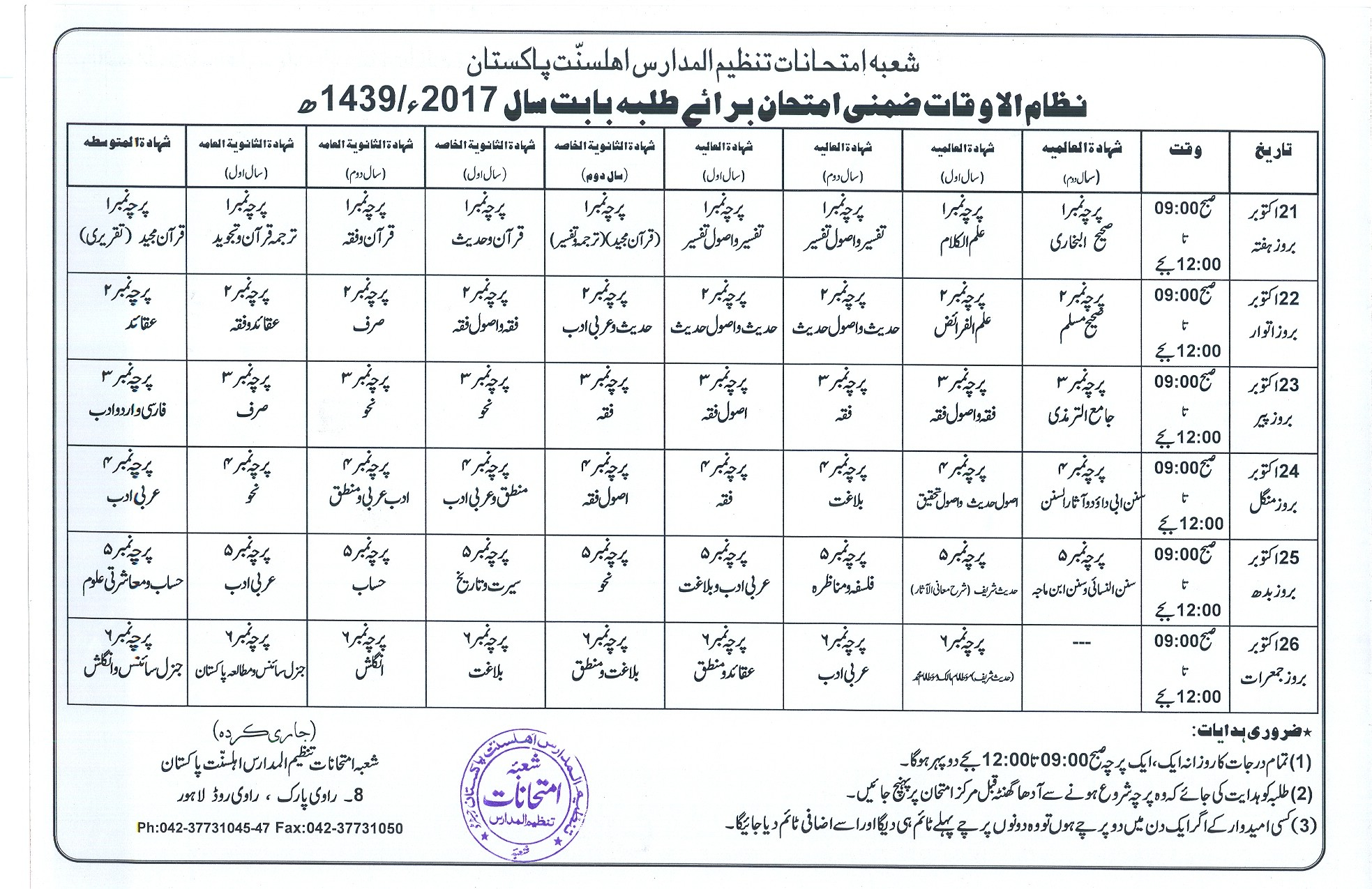 Tanzeem Ul Madaris Supply Date Sheet 2018 For Boys: