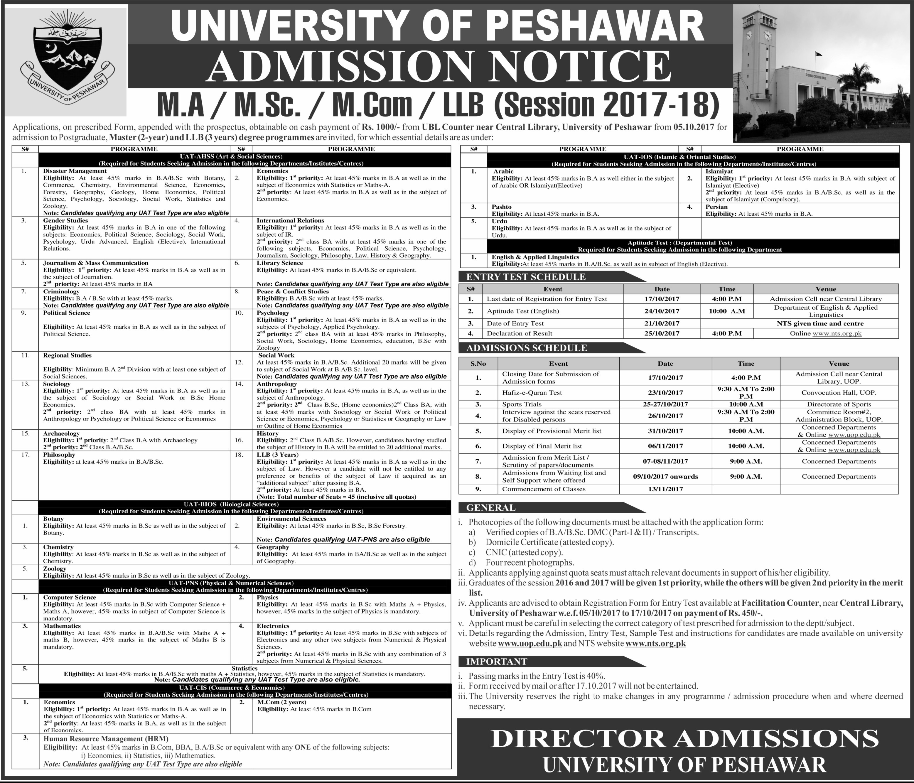 University Of Peshawar Admission 2017-18 Master/ LLB Form, Last & Entry Test Date