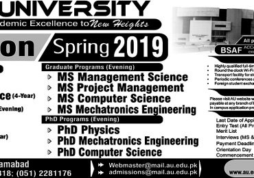 Air University Islamabad Spring Admission 2019