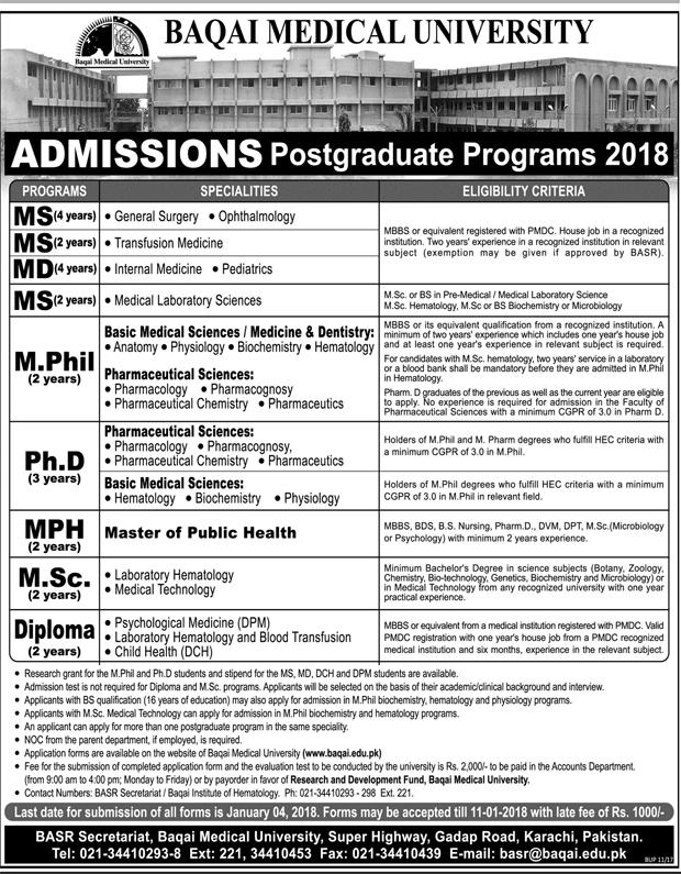 Baqai Medical University Postgraduate Admissions 2018 Form Download Last Date