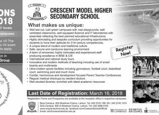 Crescent Model Higher Secondary School Admission 2018