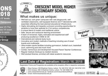 Crescent Model School Admission 2021 Form, Merit List