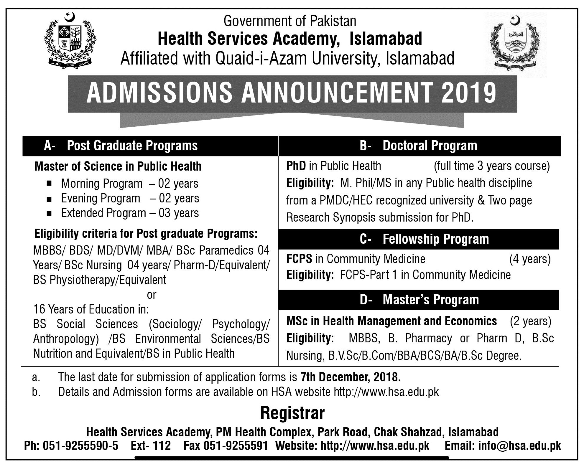 Health Services Academy Islamabad Admissions 2019