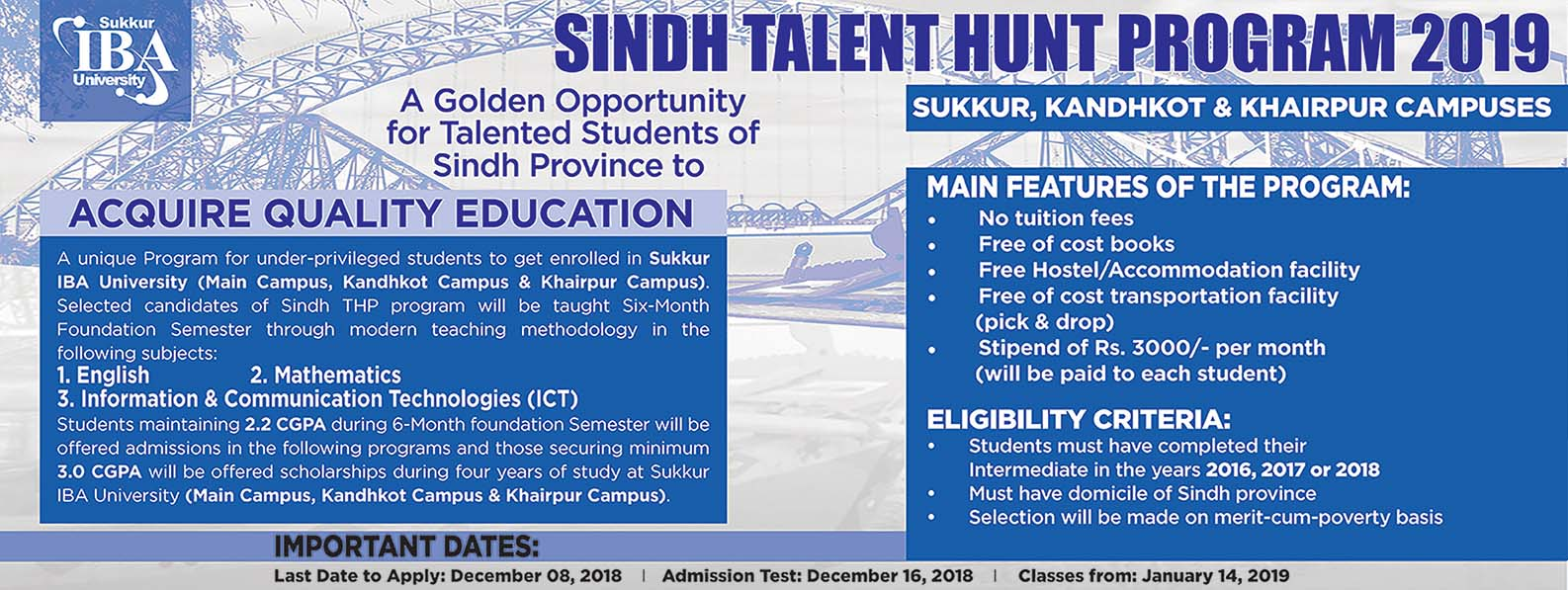 IBA Sukkur Talent Hunt Program 2019 Form, Last Date, Test Result