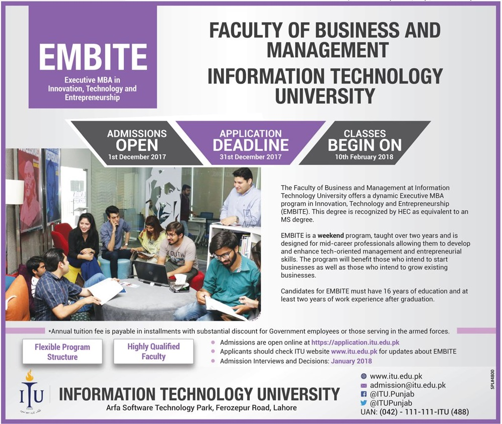 ITU Lahore Executive MBA Admission 2017 Form Online Last Date