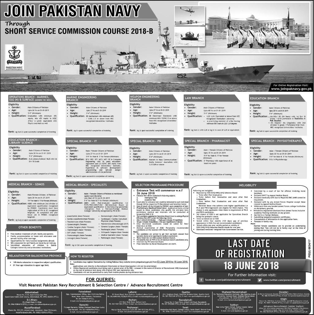 Join Pak NAVY Through Short Service Commission 2018 B Online Registration Form
