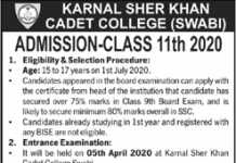 Karnal Sher Khan Cadet College Swabi Admission 2020 Entry Test