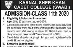 Karnal Sher Khan Cadet College Swabi Admission 2020 Entry Test