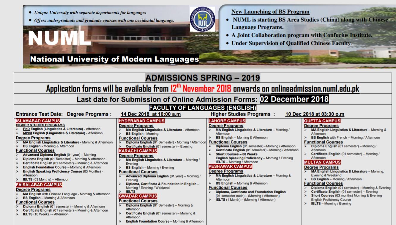 NUML University Karachi Spring Admission 2019