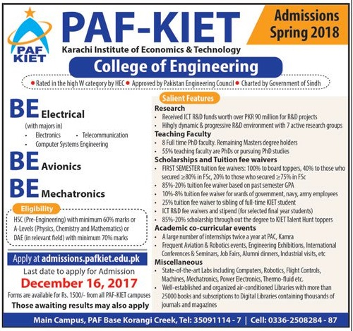PAF KIET Engineering Admission 2018 Form Download, Fee Structure, Last Date