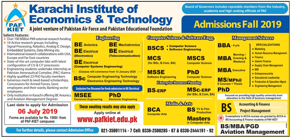 PAF KIET Fall Admission 2019 Form Download, Fee Structure