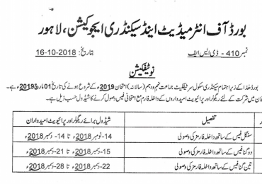 Sargodha Board 9th Class Admission Form 2019 Matric Private Online