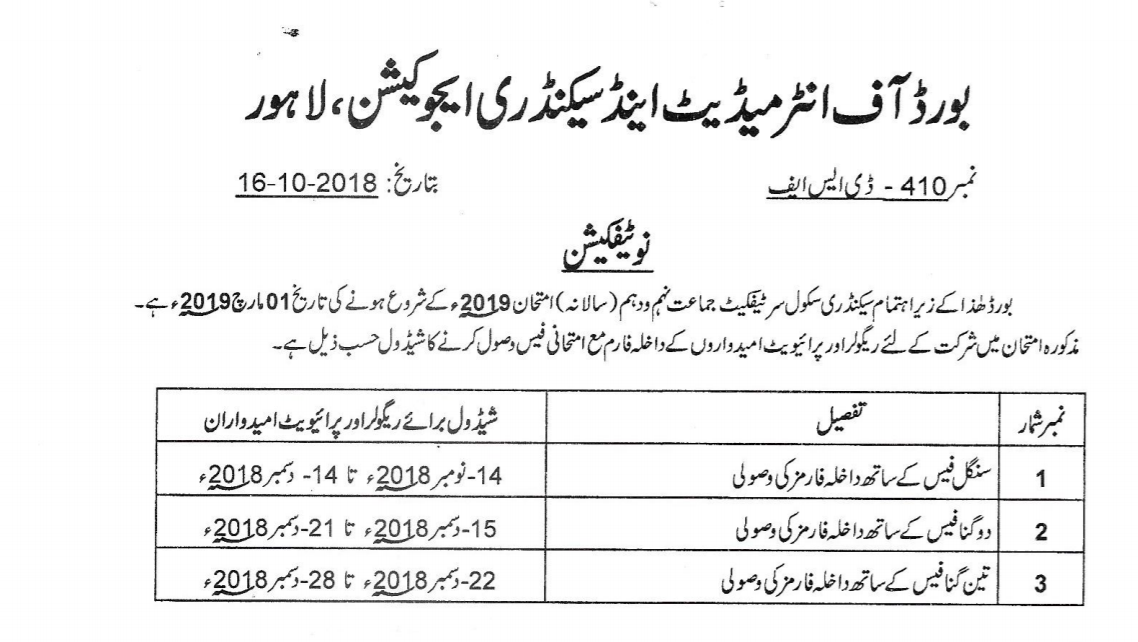 Punjab Boards Online 9th, 10th Class Registration Schedule 2019