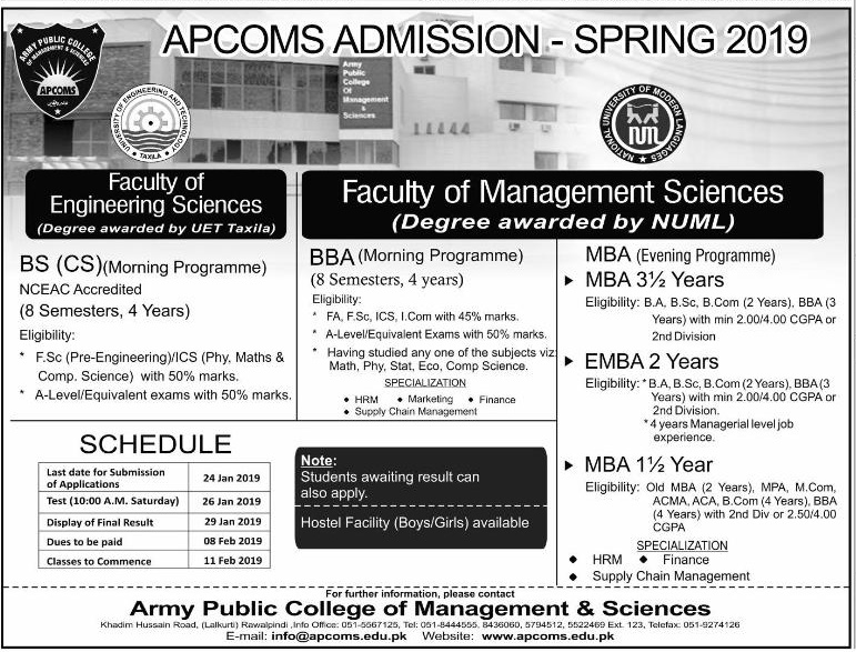 Army Public School APCOMS Spring Admissions 2019 Form Schedule