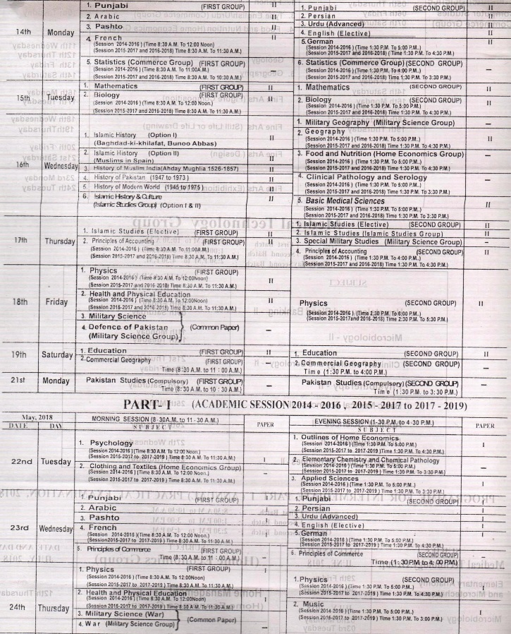 BISE Lahore Board Inter Part 1, 2 FA, FSC Date Sheet 2018, 2