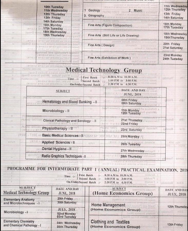 BISE Lahore Board Inter Part 1, 2 FA, FSC Date Sheet 2018, 5