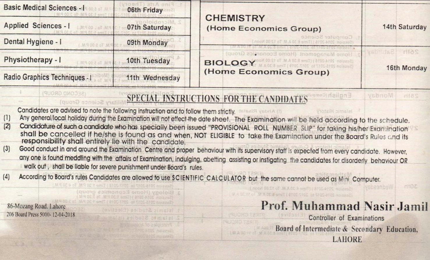 BISE Lahore Board Inter Part 1, 2 FA, FSC Date Sheet 2018, 6