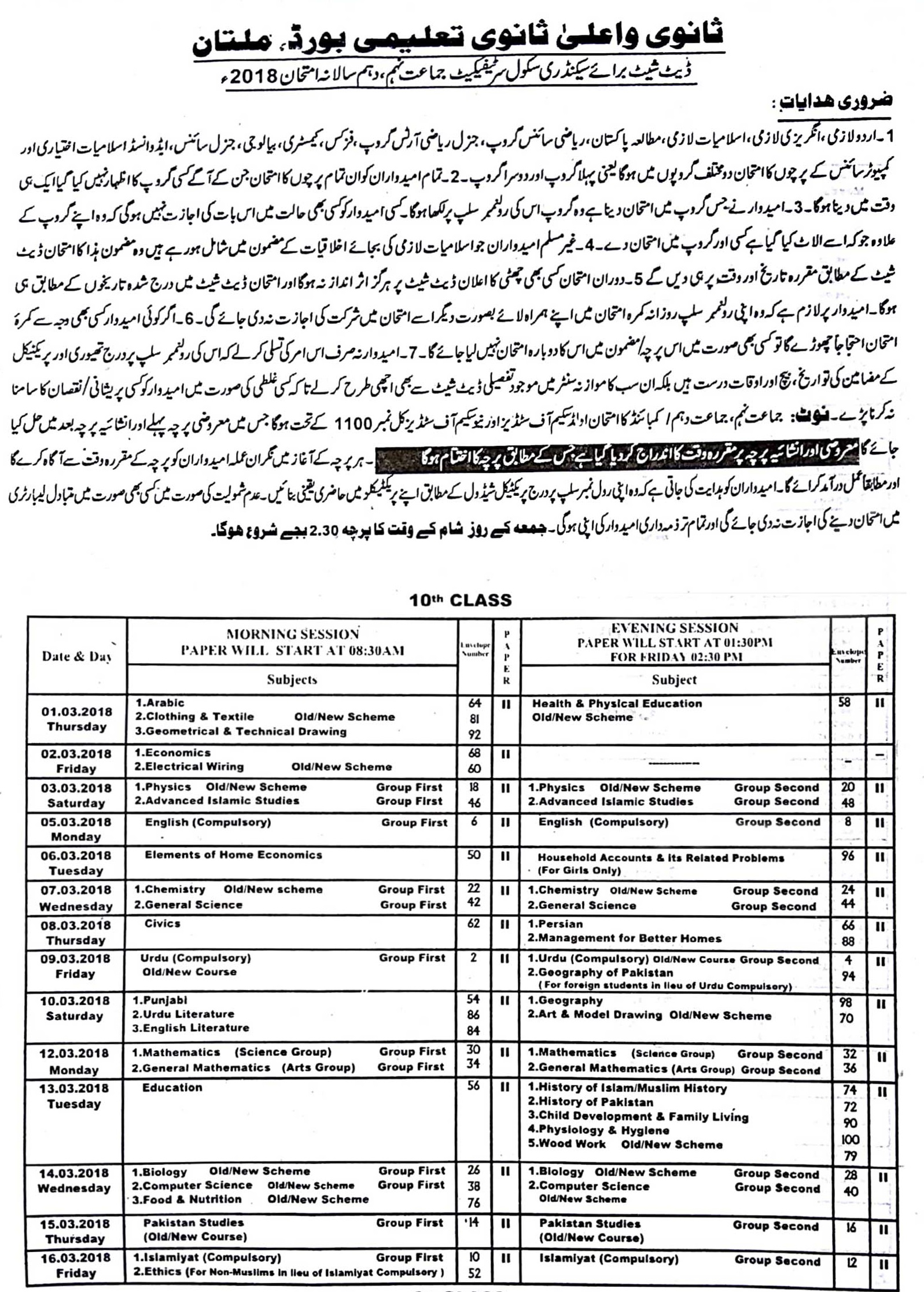 BISE Multan Board Matric 10th Class Date Sheet 2018