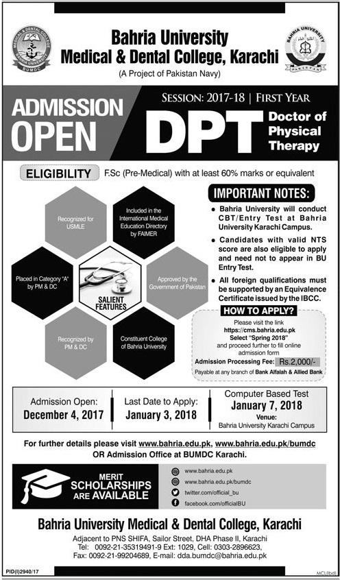 Bahria University Medical and Dental College DPT Admission 2018 Form Entry Test Result