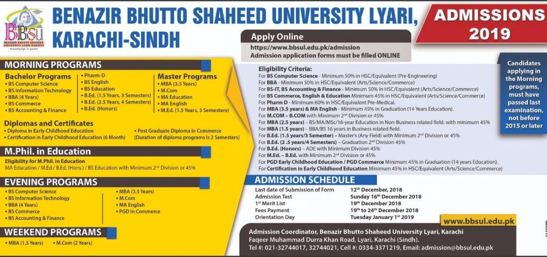 Benazir Bhutto Shaheed University Lyari BBSUL Karachi Admission 2019
