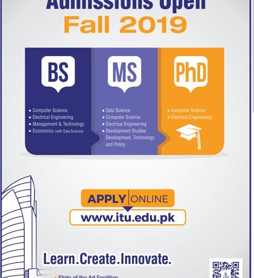 ITU Lahore Admissions 2019 Form, Entry Test Date Registration