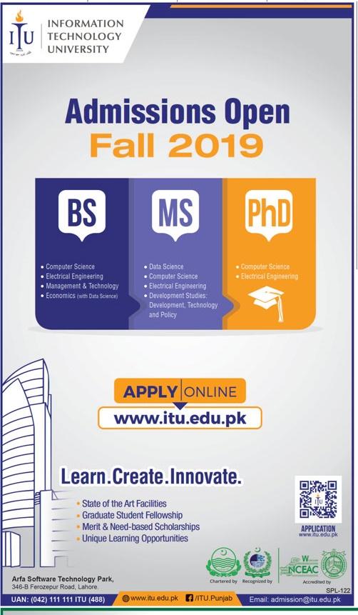 ITU Lahore Fall Admission 2019 Schedule
