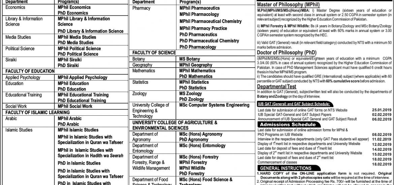 Islamia University of Bahawalpur IUB MPhil, MS, PhD Admission 2019 Form