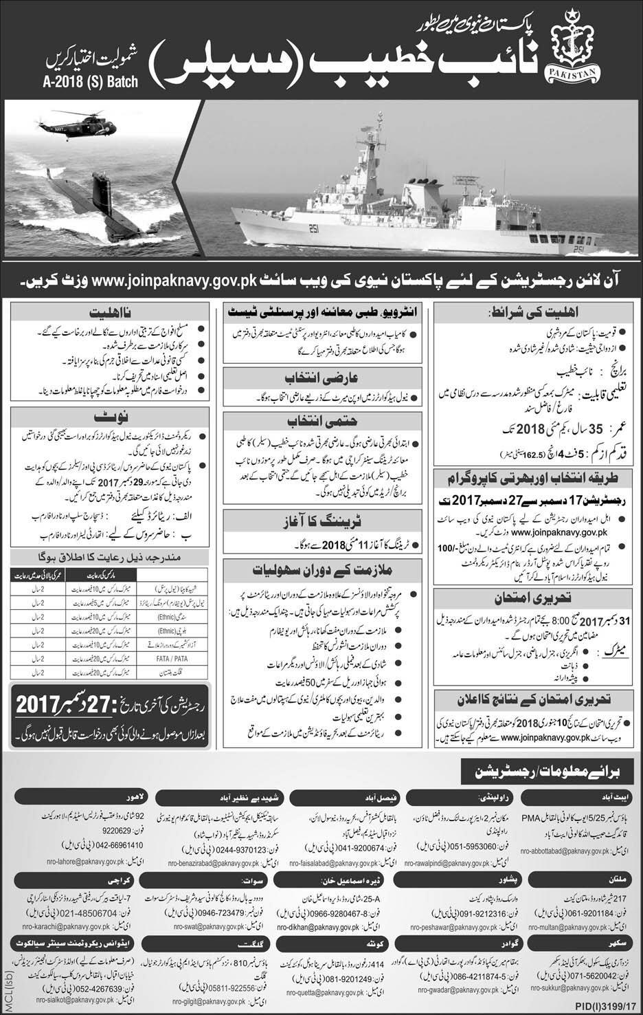 Join Pak Navy As Naib Khateeb 2018 www.joinpaknavy.gov.pk Online Registration Last Date