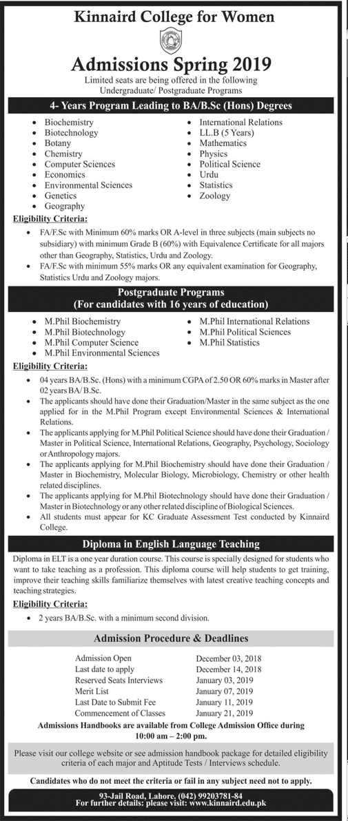 Kinnaird College For Women Spring Admission 2019