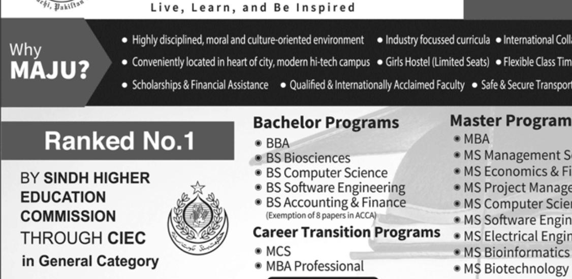 Mohammad Ali Jinnah University MAJU Spring Admissions 2019