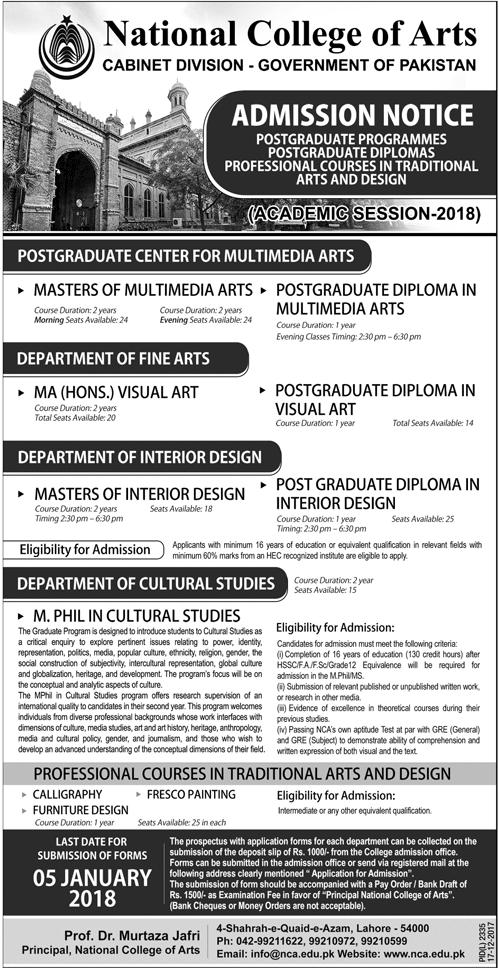National College of Arts NCA Lahore Postgraduate Admissions 2018 Form Last Date