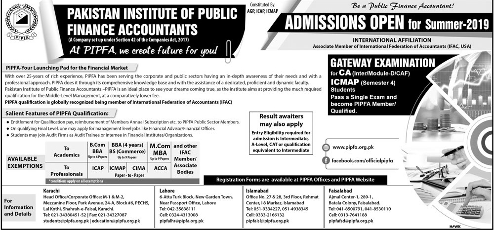 PIPFA Admission 2019 Summer Session Form, Last date