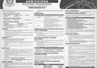 Quaid i Azam University Islamabad Master Spring Admission 2021 Regular, Self Finance
