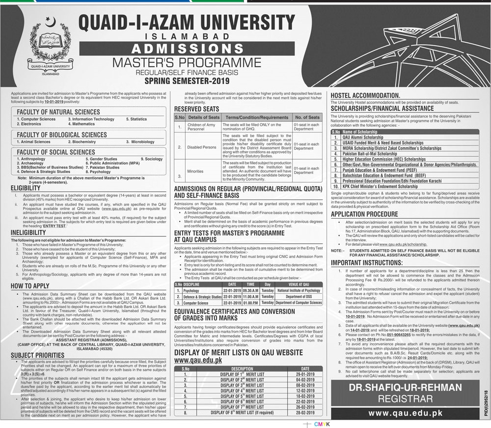 Quaid i Azam University Islamabad Master Spring Admission 2019 Regular, Self Finance