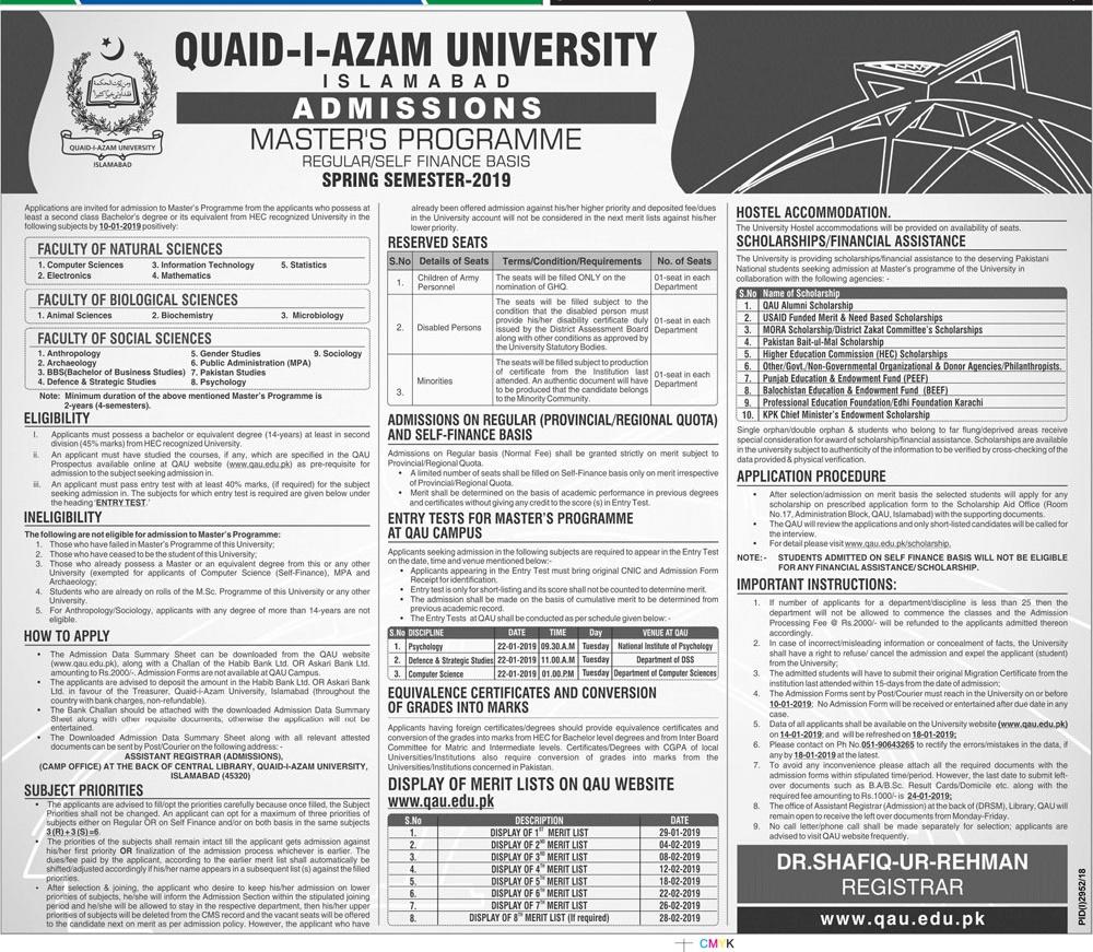Quaid i Azam University Islamabad Master Spring Admission 2019 Regular, Self Finance