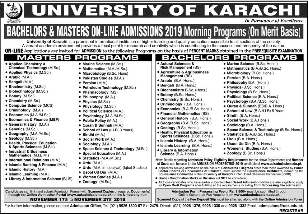University of Karachi UOK Admission 2019